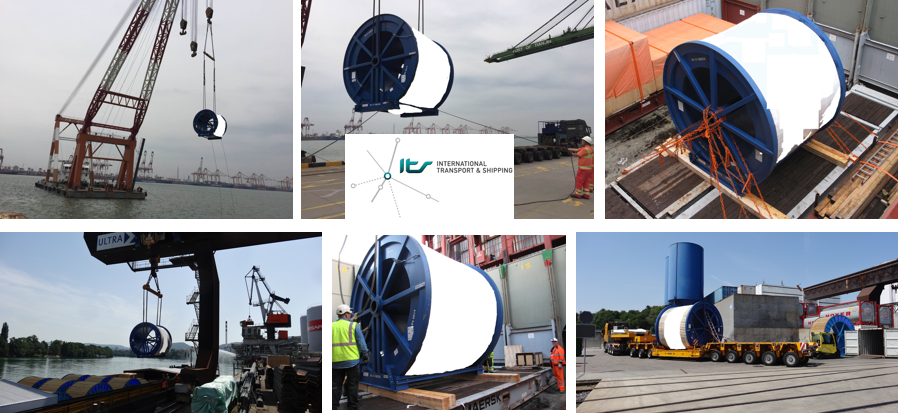 ITS transports 3 cable reels, totaling 230204kg from Switzerland to China