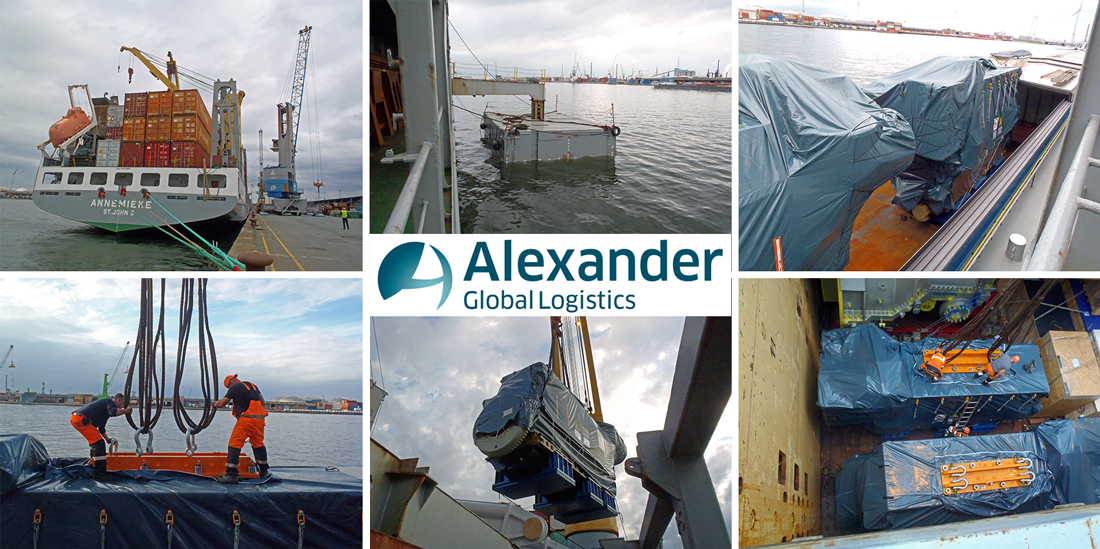 Alexander Global Logistics moves heavy Diesel-Engines to Huangpu Old Port, China