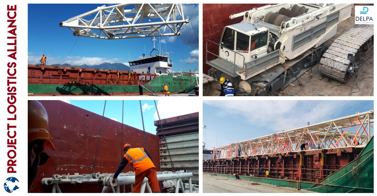 Delpa Shipping and Logistics Transports Dismantled Crawler Crane