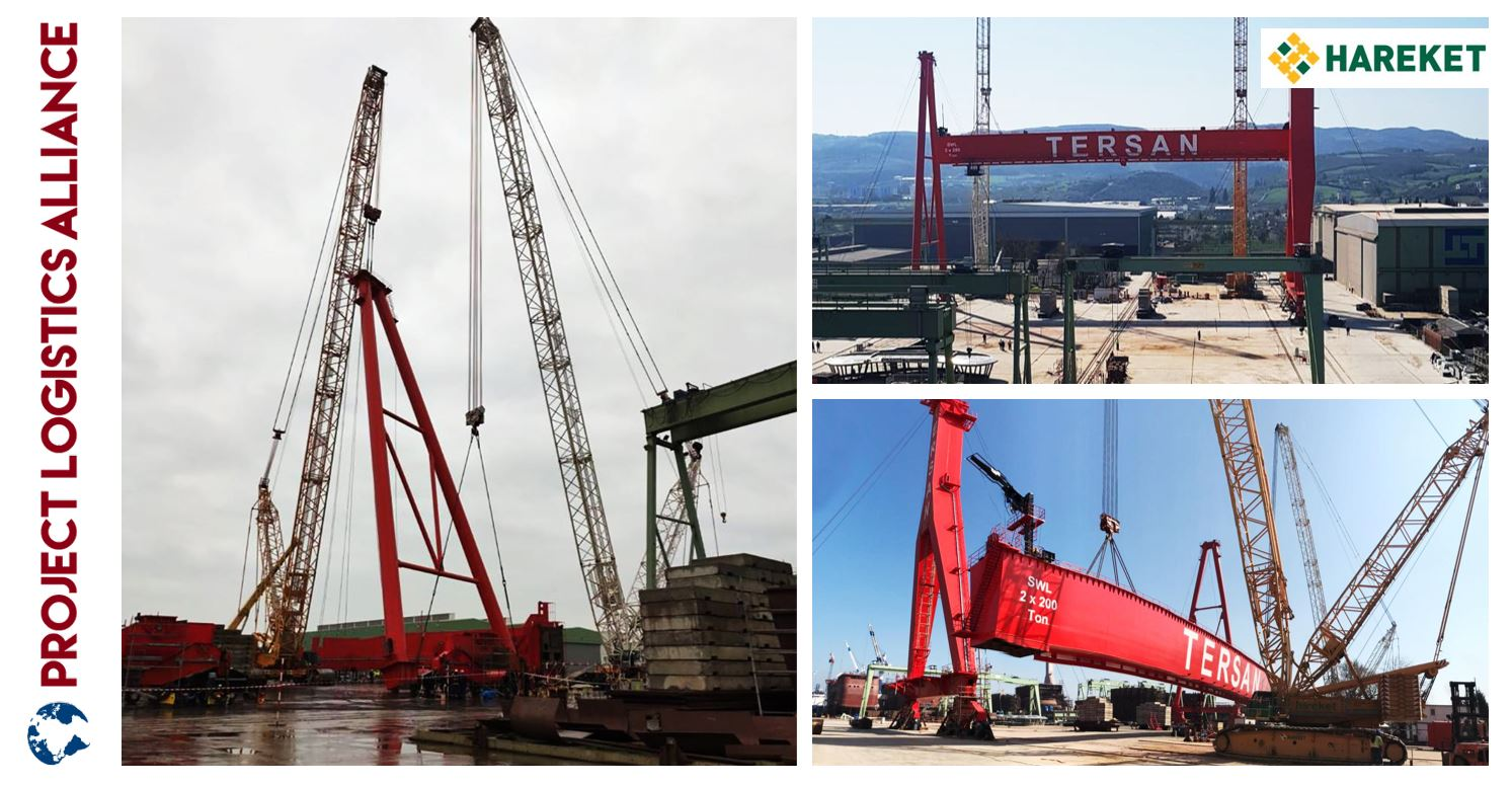 Hareket Showcases Expertise in Heavy Lifting by Assembling Two Portal Cranes